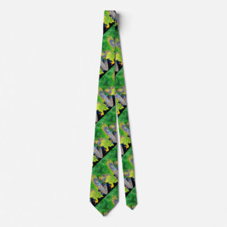 VIBRATIONS OF MATTER,LADY IN GREEN YELLOW FRACTALS TIE