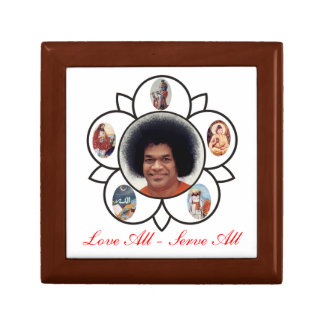 Vibuthi Box Love All - Serve All Sathya Sai Baba Small Square Gift Box