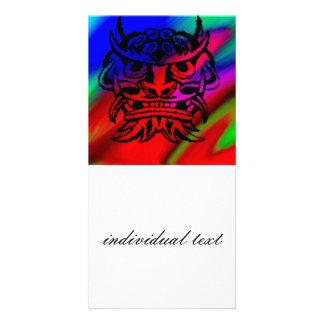 Vicious Tribal Mask Black rainbow 003 Personalised Photo Card
