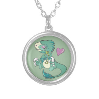 Vicious Velociraptor! Silver Plated Necklace