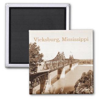 Vicksburg MS River Bridge Sepia Copper Tone Square Magnet