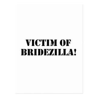Victim of Bridezilla black Post Cards