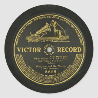 VICTOR RECORD Vintage phonograph record Round Sticker