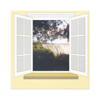 Victoria Falls, Zimbabwe through Window Canvas Print