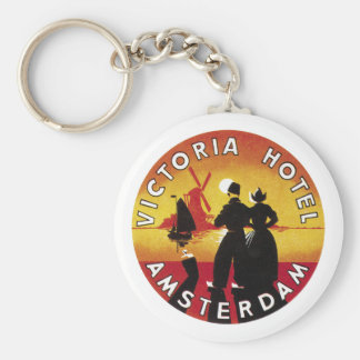 Victoria Hotel Amsterdam Vintage Lable Basic Round Button Key Ring