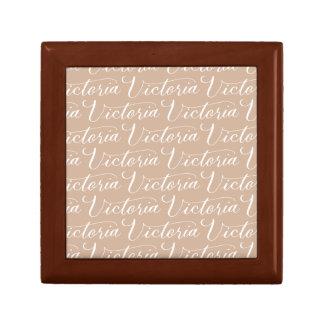 Victoria - Modern Calligraphy Name Design Small Square Gift Box
