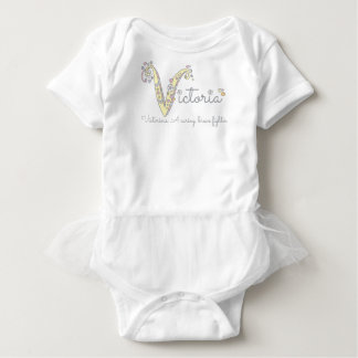 Victoria monogram V name and meaning baby romper Baby Bodysuit