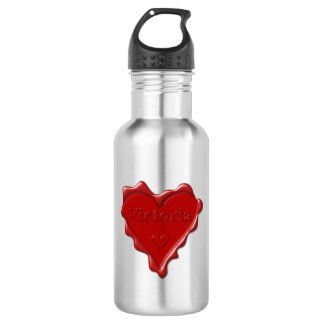 Victoria. Red heart wax seal with name Victoria 532 Ml Water Bottle