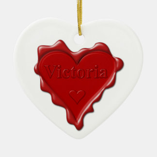 Victoria. Red heart wax seal with name Victoria Ceramic Ornament