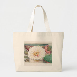 Victoria Regia. Vintage Water Lily illustration Large Tote Bag