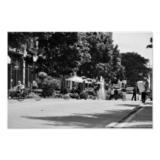 Victoria Row - Outdoor Cafes - Black and White Poster