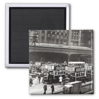Victoria Station, 1920s Square Magnet