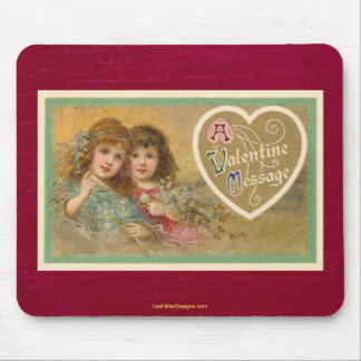 Victorian A Valentine Message 2 Girls Mouse Pad