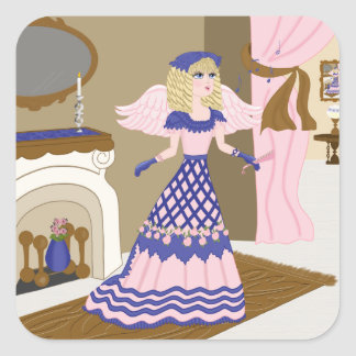 Victorian Angel Blue and Pink Singing by Fireplace Square Stickers