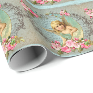 Victorian Angel vintage blue rose pink antique Wrapping Paper