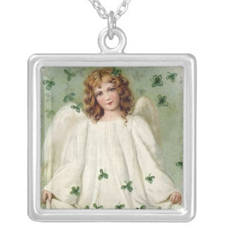 Victorian Angel w/Clover Leaves Sterling Silver Ne Personalized Necklace