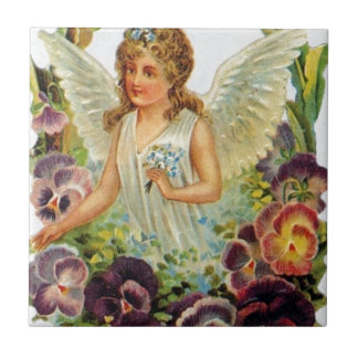 Victorian Angel with Flowers Small Square Tile