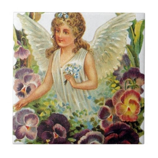 Victorian Angel with Flowers Ceramic Tiles
