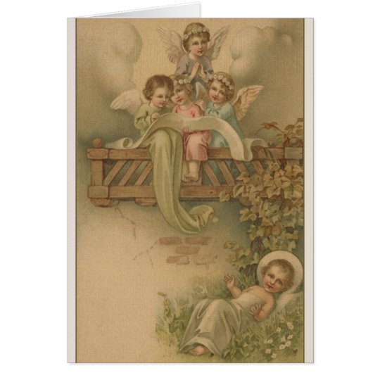 Victorian Angels and Baby Jesus Christmas Card