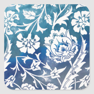 Victorian Arabesque, LADY CIARA - Blue & White Square Sticker