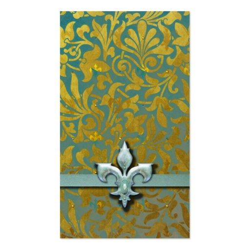Victorian Arabesque, NOBLESSE - Aqua & Gold Business Cards