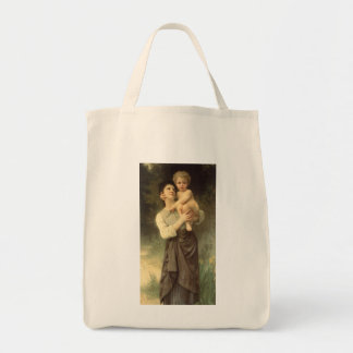 Victorian Art, Brother and Sister by Bouguereau Grocery Tote Bag