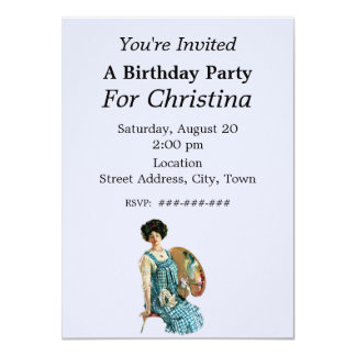 Victorian Artist Lady Painter Palette Birthday 11 Cm X 16 Cm Invitation Card