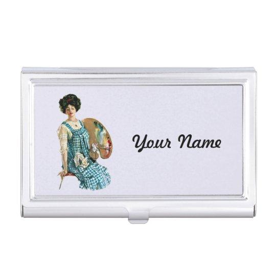 Victorian Artist Lady Plaid Smock Painter Pallet Business Card Holder