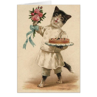Victorian Baker Cat Congratulations & Best Wishes Card