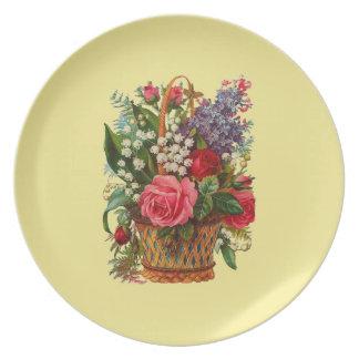Victorian Basket of Flowers Melamine Plate