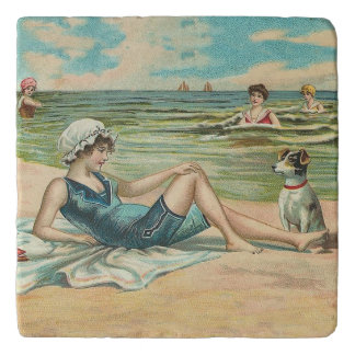 Victorian Beach Swimming Girl Trivet