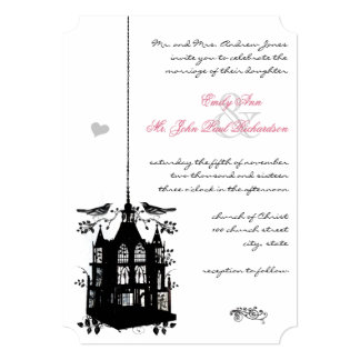Victorian Bird Cage Pink & Black Wedding Invite