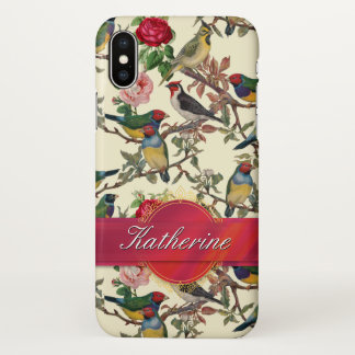 Victorian Bird Garden Personalised Ribbon Wrapped iPhone X Case