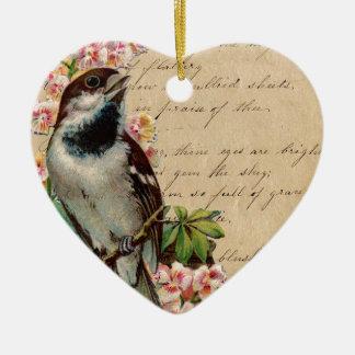 Victorian Bird Illustration 2 Ceramic Heart Decoration