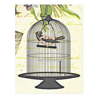 Victorian Bird in Cage Penned Words Design Postcard