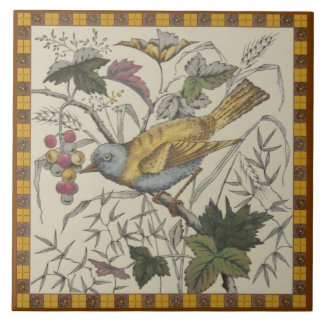 Victorian Bird 'n Berries Transferware Tile Repro