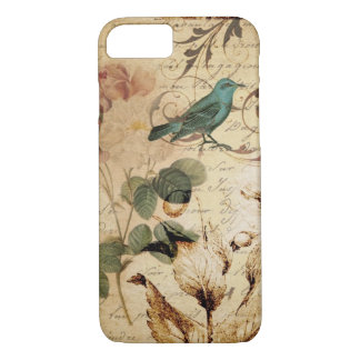 victorian bird Paris French Botanical Rose iPhone 7 Case
