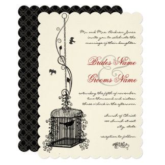 Victorian Birdcage Red Accents Wedding Invitations