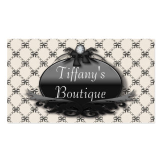 Victorian Black Bow Damask Fashion Business Cards