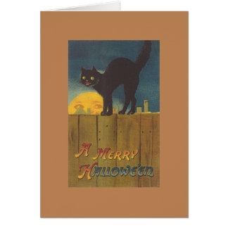 Victorian Black Cat Hallowe'en Greeting Card