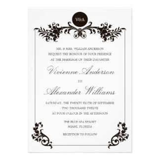 VICTORIAN BLACK WHITE WEDDING INVITATION
