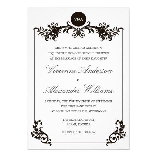 VICTORIAN BLACK & WHITE  | WEDDING INVITATION