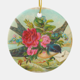 Victorian Blue Bird Christmas Ornament