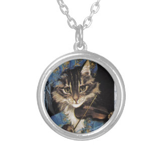 Victorian Blue Cat Fiddle Violin Music Silver Plated Necklace