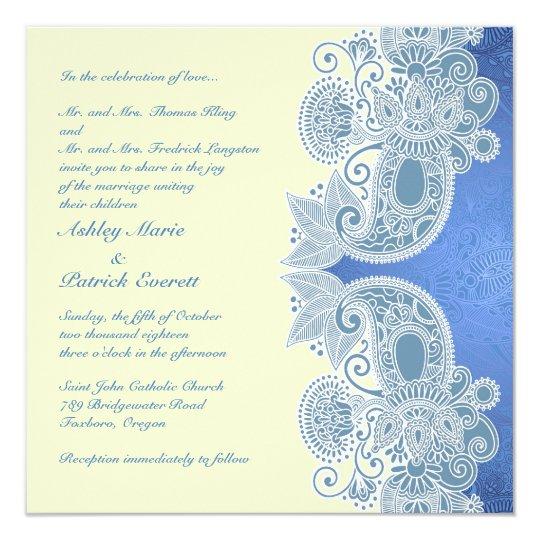 Victorian Blue Floral Flat Wedding Invitation