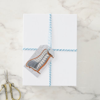 Victorian Blue Stripe Chaise Lounge Gift Tags