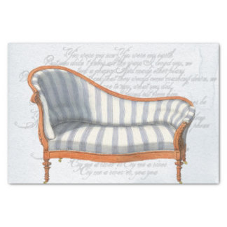 Victorian Blue Stripe Chaise Lounge Tissue Paper