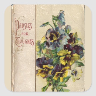 Victorian Book Cover Pansies Sticker