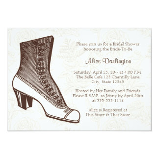 Victorian Boot and Floral Invitation