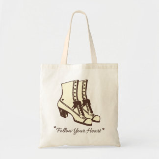 Victorian Boots Follow Your Heart Budget Tote Bag